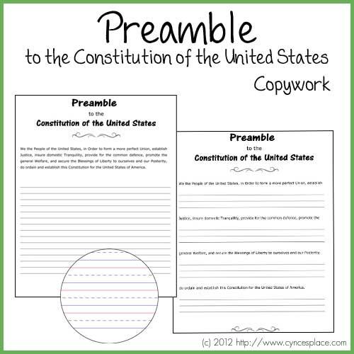 Preamble Copywork