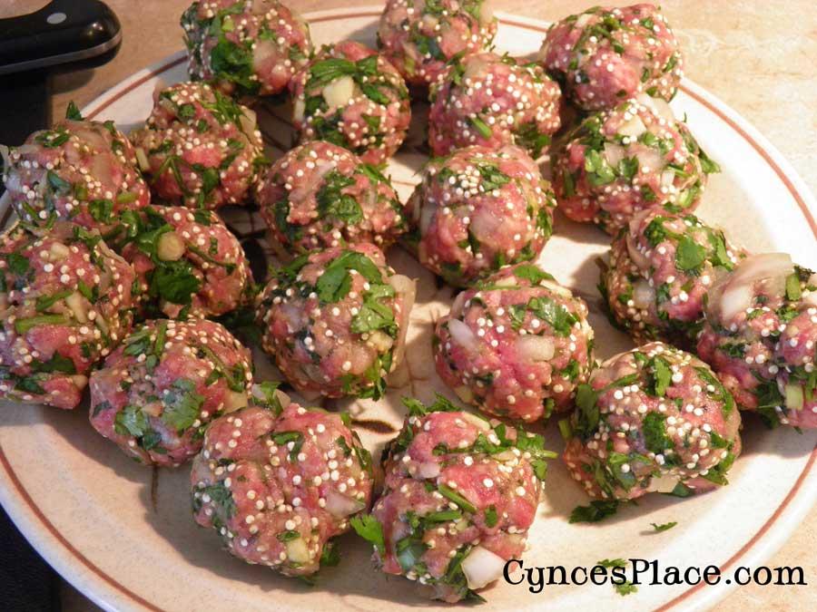 Albondigas Soup with quinoa - meatballs