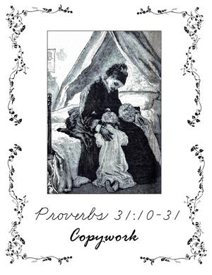 Proverbs 31 Copywork Cursive - kjv