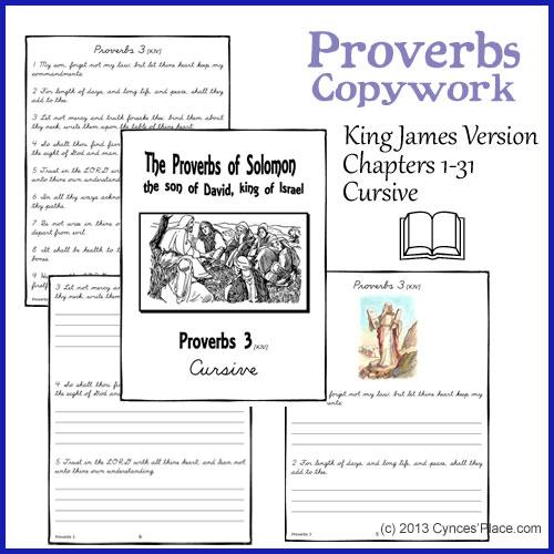 Proverbs Copywork - Cursive - kjv