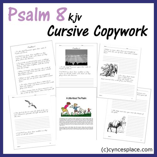 Psalm 8 Copywork - Cursive
