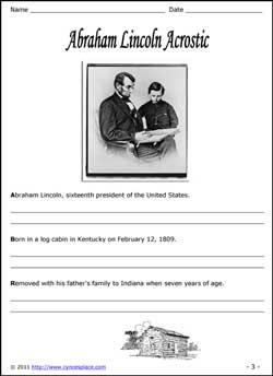 Abraham Lincoln Acrostic Copywork
